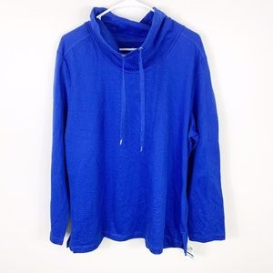 Karen Scott Sport  blue funnel neck sweatshirt